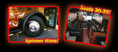 Raging Bull Bus Limousine, Limo Bus, Great for Parties and Safe Rides in Wisconsin