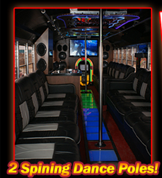 Raging Bull Bus Spinning Dance Poles, Limo Bus Dance Poles